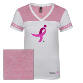 Ladies White/Bright Pink Juniors Varsity V Neck Tee-Ribbon