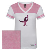 Ladies White/Bright Pink Juniors Varsity V Neck Tee-Ribbon Foil