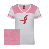 Ladies White/Bright Pink Juniors Varsity V Neck Tee-Ribbon Pink Glitter