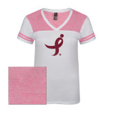 Ladies White/Bright Pink Juniors Varsity V Neck Tee-Ribbon Hot Pink Glitter