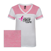 Ladies White/Bright Pink Juniors Varsity V Neck Tee-Susan G. Komen Race for the Cure