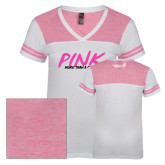 Ladies White/Bright Pink Juniors Varsity V Neck Tee-Pink More Than A Color