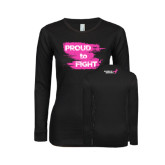 Ladies Black Long Sleeve V Neck T Shirt-Proud To Fight