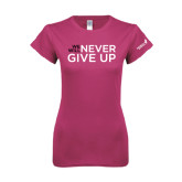 Ladies SoftStyle Junior Fitted Fuchsia Tee-We Will Never Give Up