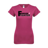 Ladies SoftStyle Junior Fitted Fuchsia Tee-Forever Fighter