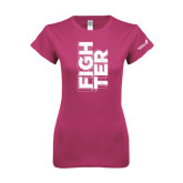Ladies SoftStyle Junior Fitted Fuchsia Tee-Fighter
