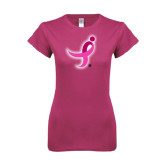 Ladies SoftStyle Junior Fitted Fuchsia Tee-Ribbon
