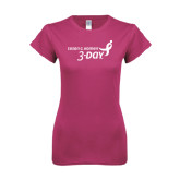 Ladies SoftStyle Junior Fitted Fuchsia Tee-Susan G. Komen 3-Day