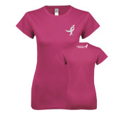Ladies SoftStyle Junior Fitted Fuchsia Tee-Ribbon White Soft Glitter