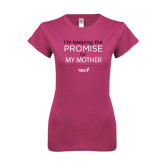 Ladies SoftStyle Junior Fitted Fuchsia Tee-Keeping The Promise For...