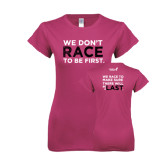Ladies SoftStyle Junior Fitted Fuchsia Tee-Race To Be First
