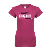 Ladies SoftStyle Junior Fitted Fuchsia Tee-Fight For A Cure