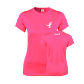 Ladies Performance Hot Pink Tee-Ribbon