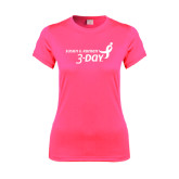 Ladies Performance Hot Pink Tee-Susan G. Komen 3-Day