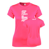 Ladies Performance Hot Pink Tee-Join The Fight.