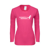 Ladies Fuchsia Long Sleeve T Shirt-Susan G. Komen