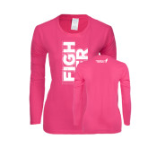 Ladies Fuchsia Long Sleeve T Shirt-Fighter