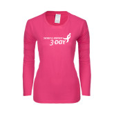 Ladies Fuchsia Long Sleeve T Shirt-Susan G. Komen 3-Day