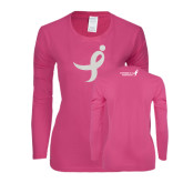Ladies Fuchsia Long Sleeve T Shirt-Ribbon White Soft Glitter