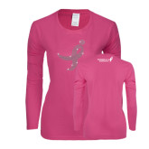 Ladies Fuchsia Long Sleeve T Shirt-Ribbon Rhinestone