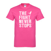 Cyber Pink T Shirt-The Fight Never Stops Distressed