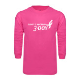 Hot Pink Long Sleeve T Shirt-Susan G. Komen 3-Day