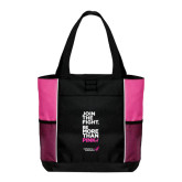 Black/Tropical Pink Panel Tote-Join The Fight.