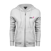 ENZA Ladies White Fleece Full Zip Hoodie-Susan G. Komen
