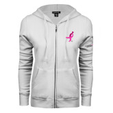 ENZA Ladies White Fleece Full Zip Hoodie-Ribbon