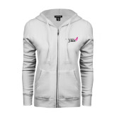 ENZA Ladies White Fleece Full Zip Hoodie-Susan G. Komen 3-Day