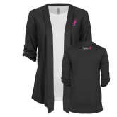 Ladies Grey Drape Front Cardigan-Ribbon