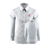 Ladies Red House White Long Sleeve Shirt-Ribbon