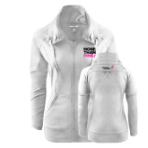 Ladies Sport Wick Stretch Full Zip White Jacket-More Than Pink