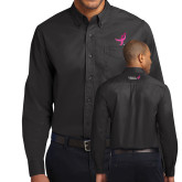 Black Twill Button Down Long Sleeve-Ribbon