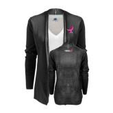 Ladies Black Open Front Cardigan-Ribbon