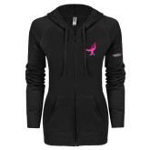 ENZA Ladies Black Light Weight Fleece Full Zip Hoodie-Ribbon