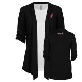 Ladies Black Drape Front Cardigan-Ribbon