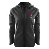 Ladies Tech Fleece Full Zip Black Hooded Jacket-Ribbon