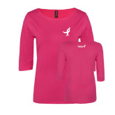 Ladies Dark Fuchsia Perfect Weight 3/4 Sleeve Tee-Ribbon