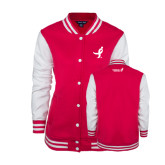 Ladies Pink Raspberry/White Fleece Letterman Jacket-Ribbon