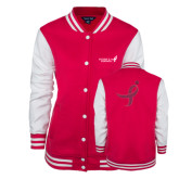 Ladies Pink Raspberry/White Fleece Letterman Jacket-Susan G. Komen