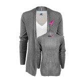 Ladies Heather Grey Open Front Cardigan-Ribbon