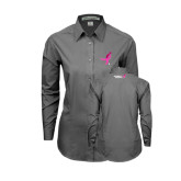 Ladies Grey Tonal Pattern Long Sleeve Shirt-Ribbon
