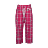 Ladies Dark Fuchsia/White Flannel Pajama Pant-Susan G. Komen Race for the Cure