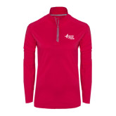Ladies Pink Raspberry Sport Wick 1/4 Zip Pullover-Susan G. Komen Race for the Cure