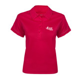 Ladies Pink Raspberry Contrast Stitch Micropique Sport Wick Polo-Susan G. Komen Race for the Cure
