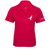 Ladies Pink Raspberry Dry Mesh Pro Polo-Ribbon