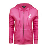 ENZA Ladies Fuchsia Fleece Full Zip Hoodie-Ribbon