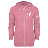 ENZA Ladies Hot Pink Marled Full Zip Hoodie-Ribbon