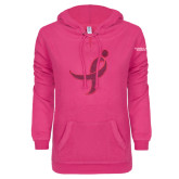 ENZA Ladies Hot Pink V Notch Raw Edge Fleece Hoodie-Ribbon Hot Pink Glitter